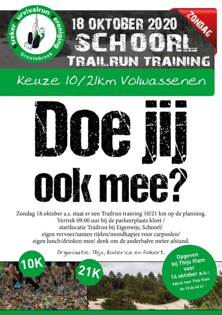 Zondag 18 oktober a.s. staat er een Trailrun training 10/21 km op de planning. Vertrek 09:00 uu rbij de parkeerplaats Kloet / startlocatie Trailrun bij Eigenwijs, Schoorl / eigenvervoer / samen rijden / mondkapjes voor carpoolen / eigen lunch/drinken mee / denk om de anderhalve meter afstand.  Organisatie: Thij Roderick en Folkert  Opgeven bij Thijs Vlam voor 14 oktober a.s. : app'je naar Thijs Vlam 06-14044541